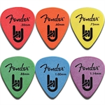 Fender Rock On Pickpacks. Plektrum paket á 12stk. - Välj tjocklek