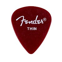 Fender California Clear Plektrum, Thin, Candy Apple Red, 12 stk.